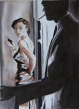 New listing Original art - Night Blues - 2019 film noir, pulp illustration - femme fatale