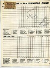 CHICAGO CUBS SAN FRANCISCO GIANTS OFFICAL BASEBALL PROGRAM 1977 USED TICKET STUB