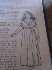 """PATRON ORIGINAL  POUPEE """" BLEUETTE """" CHEMISE DE NUIT EMPIRE JANVIER  1921"""