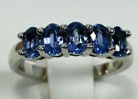 Blue Sapphire Ring 14K white gold 5 stone Natural Heirloom Appraisal $3,098