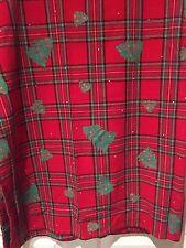 Holiday CHRISTMAS Tablecloth RED Green PLAID w Christmas Tree Block Print