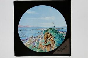 Coastal View With Train - Hand Painted Glass Lantern Slide