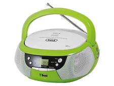 Portable Stereo CD Disc Player • FM AM radio • USB MP3 playback • AUX-in • Green