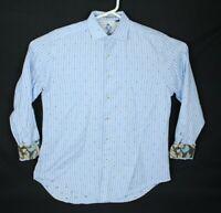 Robert Graham Mens Shirt Size L Blue  Contrast Flip Cuff Money Bags