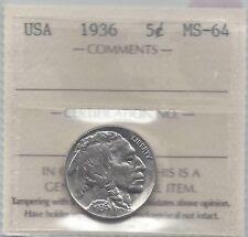 **1936** USA, Five Cent, Buffalo Nickel, ICCS Graded MS-64