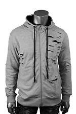 New Men's Jordan Craig Thrasher Shredded Lined Zip Hoodie Grey Size Large