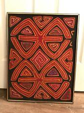 Vintage Framed Hand Sewn Textile MOLA South American Applique ART Aztec