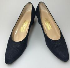 Salvatore Ferragamo Classic Pumps Block Heel Blue Suede Sz 7.5 AAAA Evening Shoe