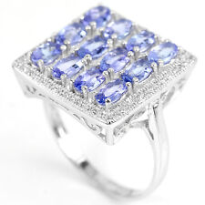 Sterling Silver 925 Genuine Natural Tanzanite & Lab Diamond Ring Size T US 9.75