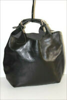 GENUINE LEATHER Sac Shopping Cuir Lisse Noir Porté Main TBE