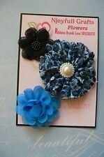 BLUE & BLACK Fabric Organza & Lace - 3 Flower Pk 45-70mm Njoyfull Crafts