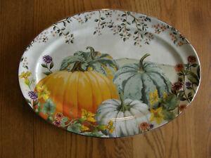 Pottery Barn Botanical Harvest Pumpkin Stoneware Oval Serving Platter- Fall -New