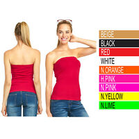 Womens Seamless Tube Top Strapless Long Bandeau Basic Layering Ribbed Stretch
