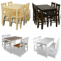 vidaXL Kitchen Dining Set Wooden Furniture Table and Chairs Seat Multi Colors