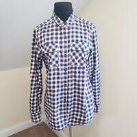 Eddie Bauer L Pink Navy White Plaid Check Flannel Shirt Womens Top