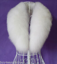 Real Natural White Fox Fur Collar Detachable Down Jacket Fur Scarf Wrap Shawl