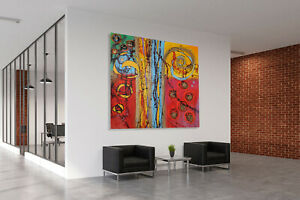 ABSTRACT PAINTINGS # MODERN ART WALL MULTICOLORED CANVAS COLOR UNIQUE * 55 x 55