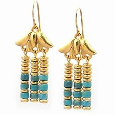 "Gold Plated Lotus Egyptian Royal Triple Drop Turquoise Earrings 1.5"" Long"