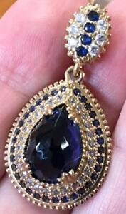 Large 8 Carat Blue Sapphire & diamond pendant & Necklace 925 14K gold vermeil