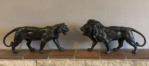 Pair Of Antique Bronze Lions C.1890-1900