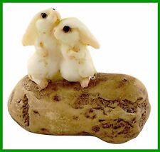 Fairy Garden Miniature Bunny Rabbits Hugging on Stone Dollhouse Figurine 4334