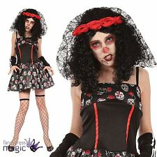 Womens Ladies Mexican Day of the Dead Sugar Skull Fancy Dress Costume Outfit New