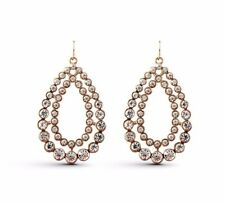 ANTIQUE STYLE Dainty Clear Crystal Water Drop Gold Plated Dangle Earrings