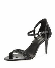Michael Kors Simone Mid Sandal Black Glitter Fabric Size 8 M