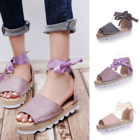 Women Flat Platform Sandals Peep Toe Buckle Ankle Strap Summer Casual Shoes