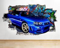 C311 Cool Blue Car Graffiti Living Smashed Wall Decal 3D Art Stickers Vinyl Room