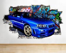 C311 azul fresco del coche pintada de  pegatina pared vinilo 3d habitación niños