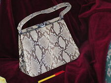 Rare  Antique (1940s?) SNAKESKIN HANDBAG in VGC+. Skin of Large Snake!