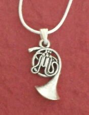 French Horn Charm Pendant Necklace including 18 inch chain music silver Plated