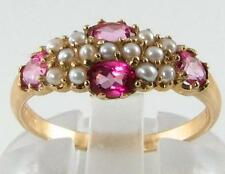 ENGLISH 9K GOLD PINK TOPAZ & 13 PEARL ART DECO INS ETERNITY RING FREE RESIZE