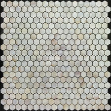 (9 Mosaic Piece Sample) River Bed Natural Shell Mosaic Tiles - Hexagon Cream