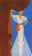 """Chic ORIGINALE VINTAGE Erte Art Deco Print """"IL SIPARIO"""" FASHION BOOK Piastra"""