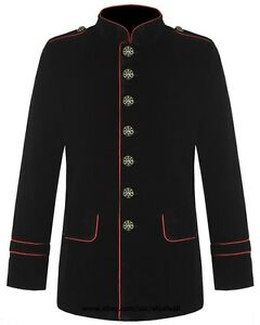 Mens Military Coat Red Piping Jacket Black Gothic Steampunk VTG Style