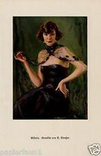 Bildnis Dame Kunstdruck 1926 Benjamin Straßer Abendkleid kleine Schwarze Erotik