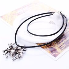 New Fashion Black  Antique Silver Spider Pendant Leather Chain Choker Necklace