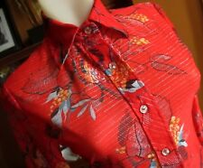 Small True Vtg 70s Ultra thin Red Sheer Polyester Printed Boho Hippy Disco Top