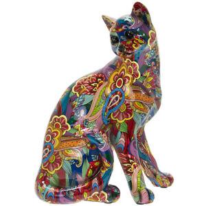 Groovy Art Sitting Large Cat Glossy Bright Coloured Animal Figure Ornament Decor