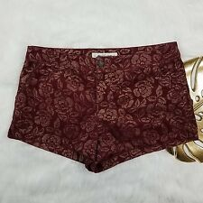Abercrombie & Fitch Womens Red Burgundy Golden Roses Printed Mid Rise Shorts 10