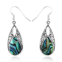 Fashion Drop Dangle Earrings 925 Sterling Silver Abalone Shell Jewelry For Her