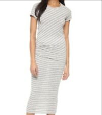JAMES PERSE Heather Gray Shirred Side Stripe Tucked Tee Maxi Dress Size 1 S NWT