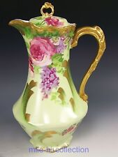 LOVELY LIMOGES FRANCE ROSES LILACS CHOCOLATE POT