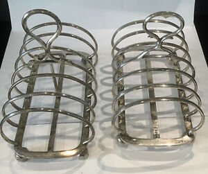 Two Large Vintage Silver Plated 6 Slot Toast Racks 7ins X 3.5ins