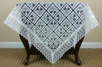 """White Embroidered Lace Tablecloth 33x33"""" Polyester Wedding Bridal Shower Decor"""