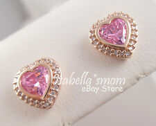 Sparkling Love Genuine Pandora Rose Gold Plated Pink Cz Hearts Earring Studs New