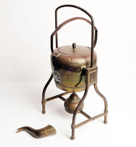 Antique Brass Kettle on Tilting stand wick burner