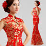 Chinese Embroidery Cheongsam Evening Prom Party Wedding Mermaid Dress Ball Gown